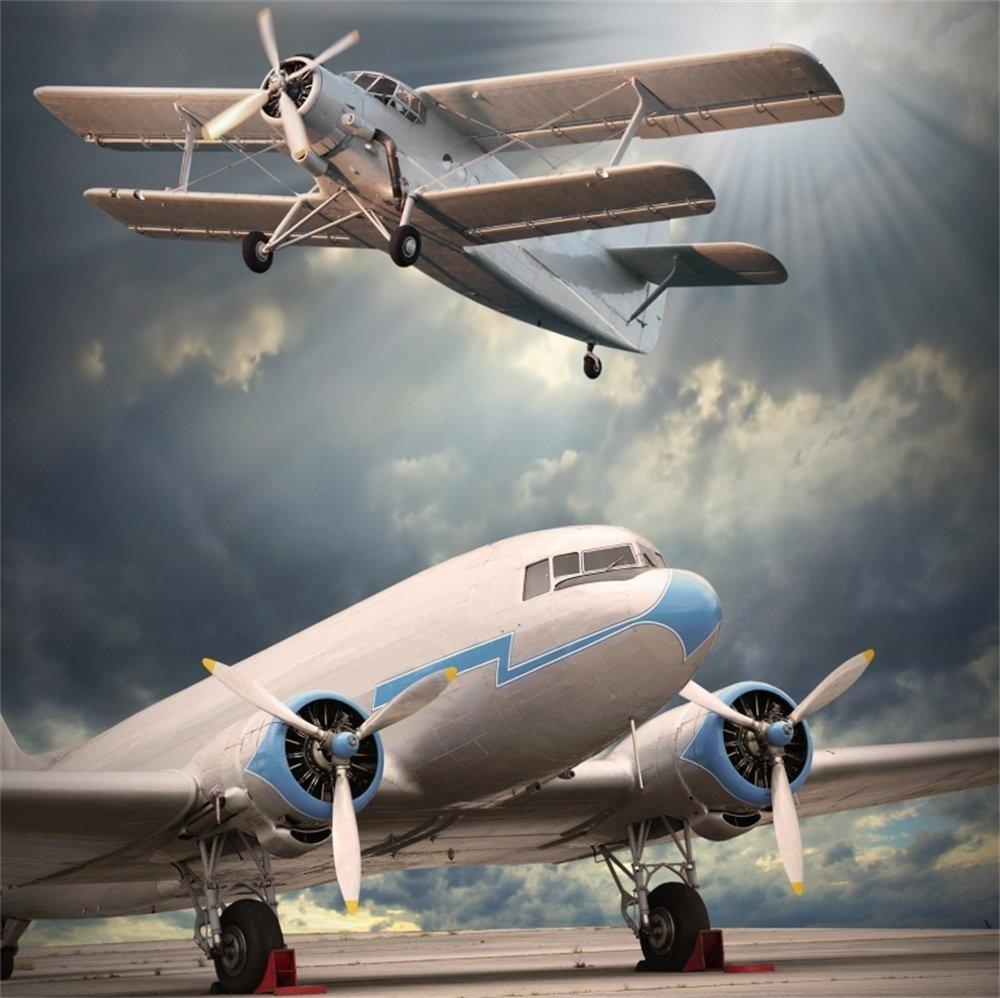 LFEEY 5x5フィート ポリエステル クラウディ空港飛行機撮影用背景 飛行機 大型飛行場 エアロドローム 写真背景 ビデオドレープ 壁紙 写真スタジオ小道具 しわなし   B07G46NL8Z