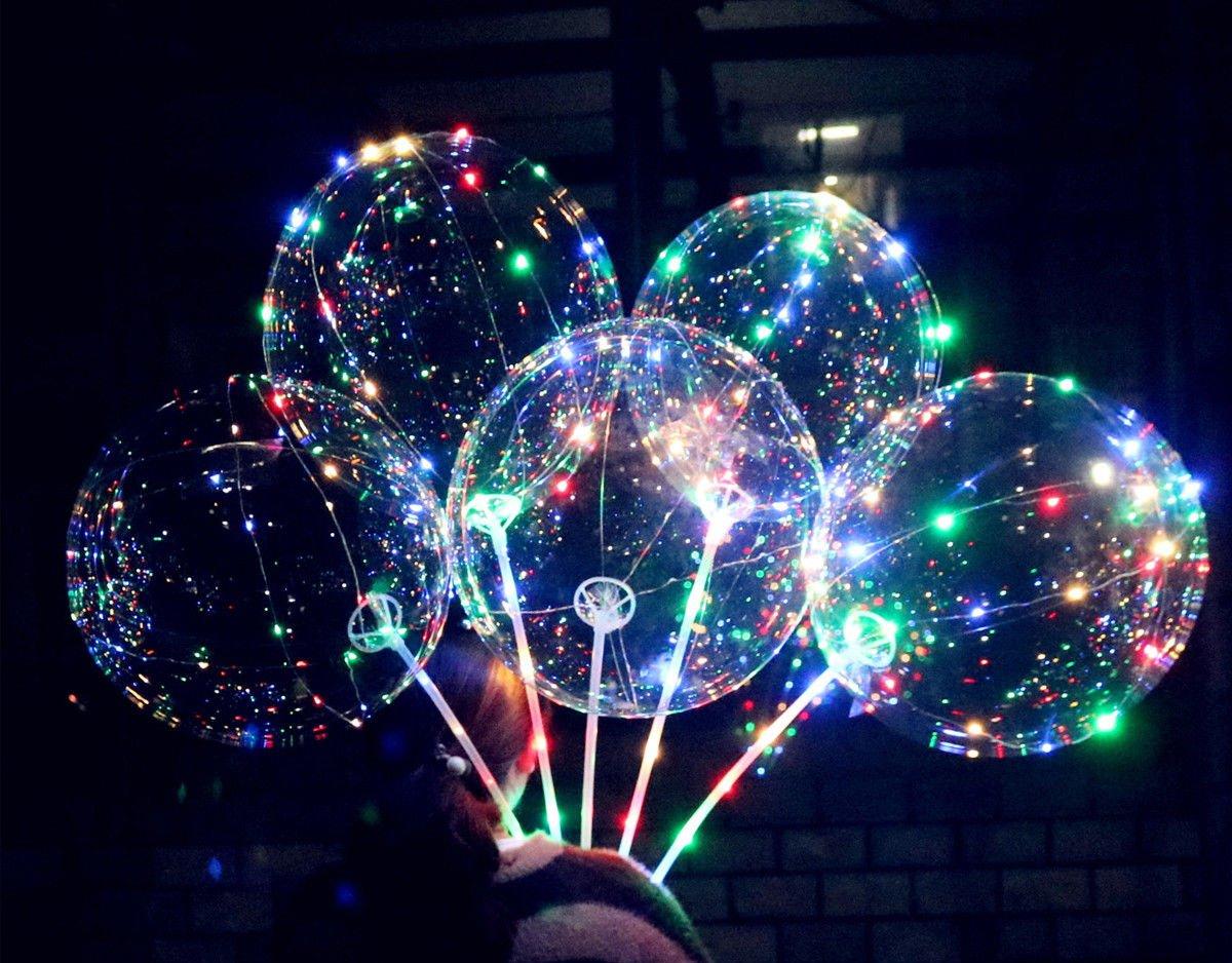 Ballonnen Met Licht : 5 stück leuchtender ballon 40cm mit lichterkette bunt