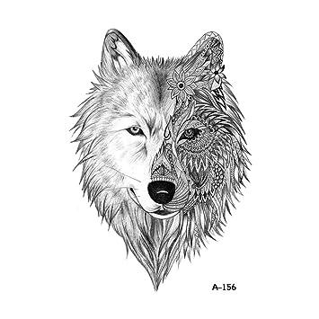 Wyuen 5 Feuilles Impermeable A L Eau Tatouage Temporaire Loup