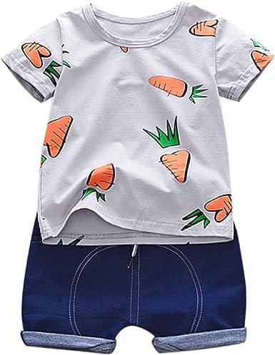 Baby Girls Clothing Set Waymine Kid Short Sleeve Cartoon Print Top+Skirt Outfit
