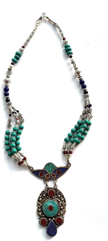 Indie Artisans Collar de lapislázuli de coral natural para mujer, collar vintage chapado en plata 925, joyería bohemia