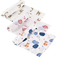 """Tosnail Set of 3 Muslin Baby Swaddle Blankets Super Soft Touch - 47"""" x 47"""" - Giraffe/Elephant/Foxes"""