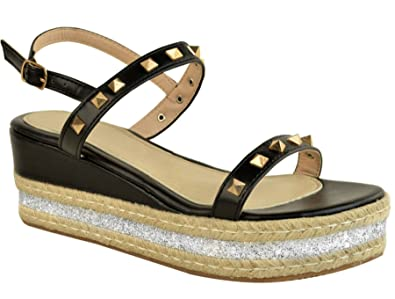 154195917040 Definitely You Ladies Womens Low Wedge Heel Flatform Stud Espadrille  Platform Summer Sandals Shoes Size (