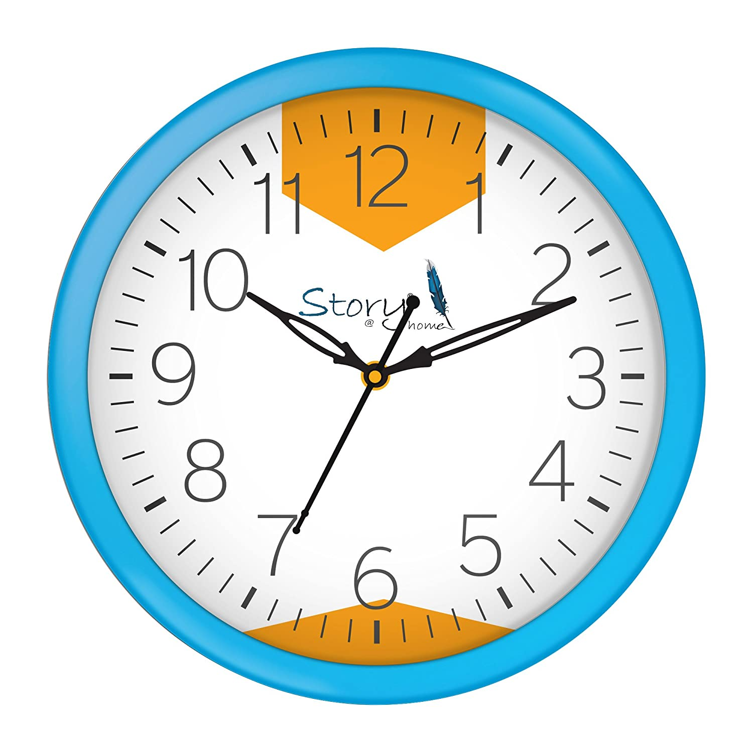 Story@Home Round Shape Plastic Modern Stylish Wall Clock with Glass for Home/Kitchen / Living Room/Bedroom/Office - 10 in , Light Blue
