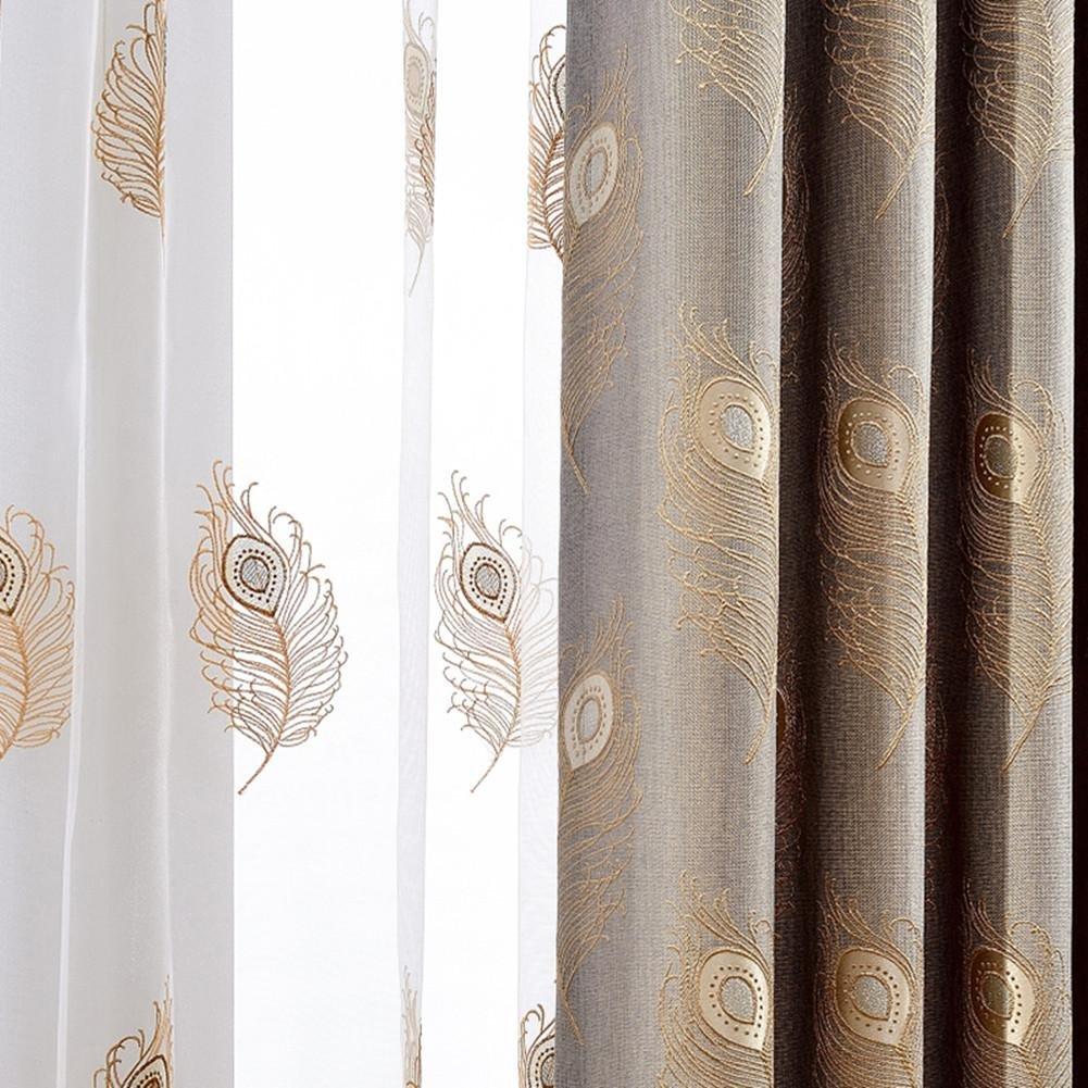 TINE HOME CURTAINS Gardinen/Vorhänge, Blickdicht, Bestickt, JD Bug, hochwertige Baumwolle und Leinen für Fenster, Wohnzimmer, Einheitsgröße, 1Stück, 300x 270cm