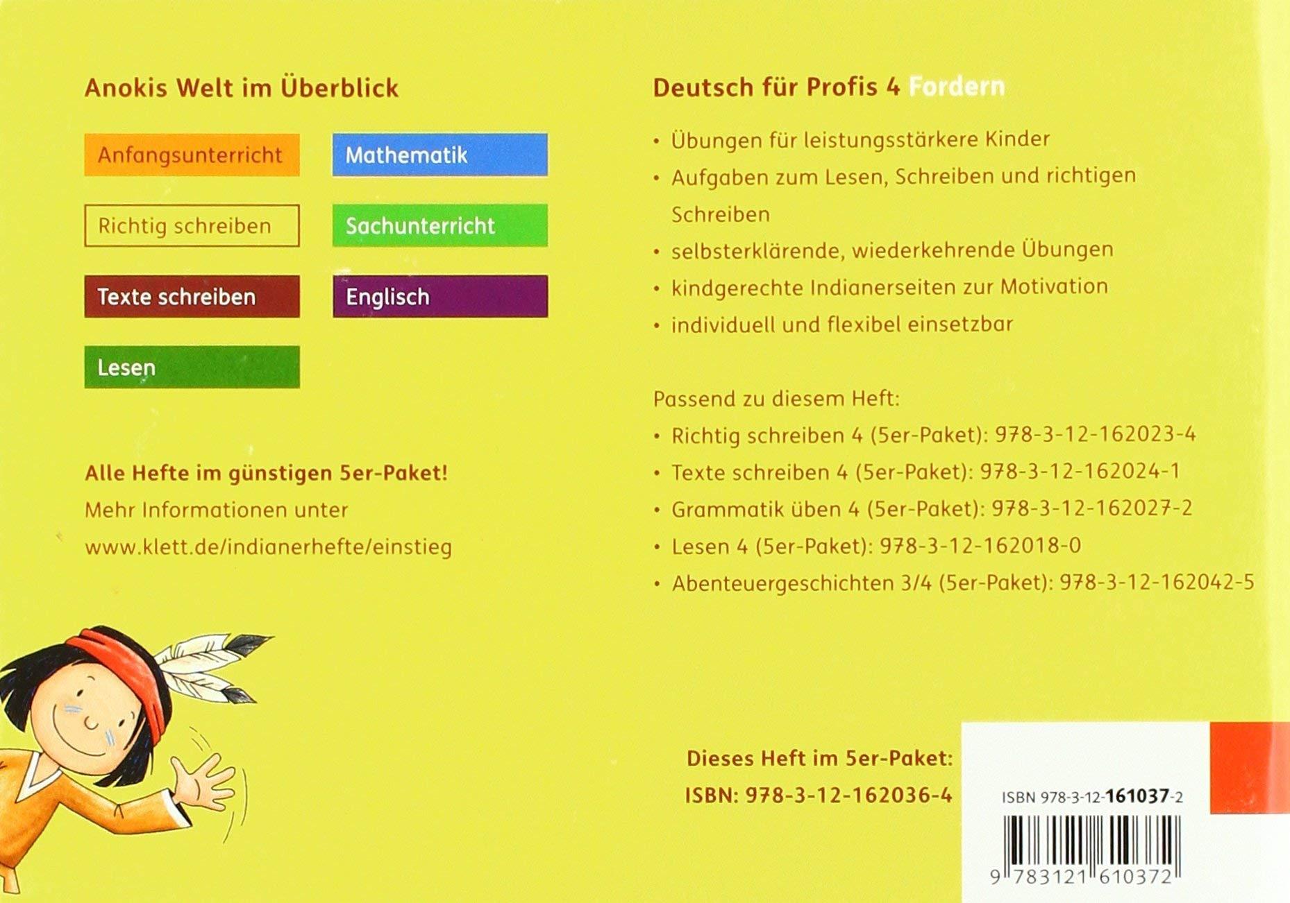 Deutsch Für Profis 4 Arbeitsheft Fordern Klasse 4 Mein Indianerheft