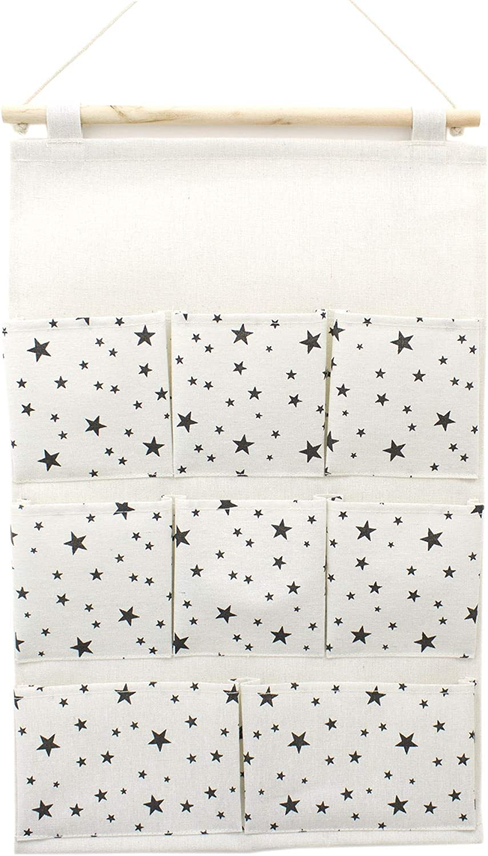 Childrens Nursery Bedroom Wardrobe Door Hanger Organizer With 8 Pockets ~ Horizontal Hearts Cotton Canvas Wall Hanging Tidy Closet Door Storage Caddy Organiser 56cm x 36cm