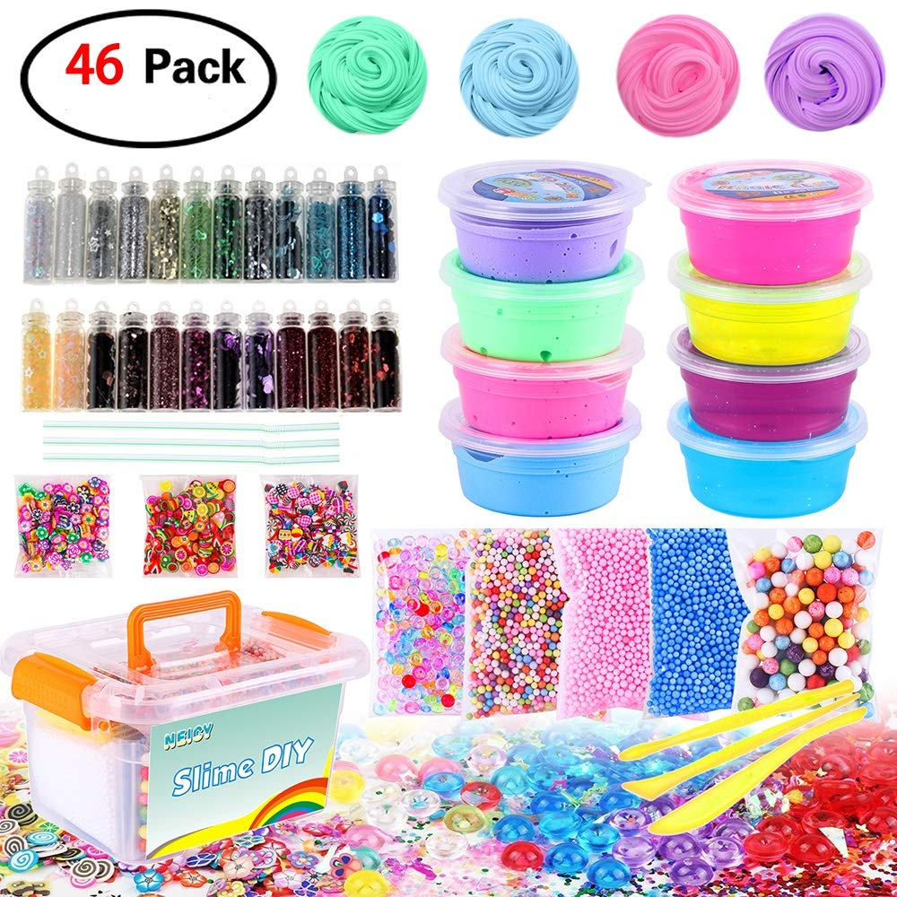 DIY Slime Kit Supplies - Fluffy Slime and Clear Crystal Slime, Include Foam Balls, Fishbowl Beads, 24pcs Glitter Jars, Fruit Flower Candy Slices for Kids and Adults Slime Making (46 Pack Slime Kit) by NEICY