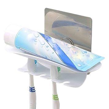 Fácil de Adherir Soporte Autoadhesivo de Pared Pasta y Cepillos Dentales Organizador Cepillos, Sujeta el Tubo de Dentífrico, Crema de Afeitar y 4 ...