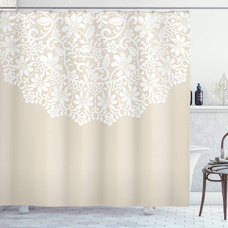 Lunarable Cream Shower Curtain, Mandala Inspired Round Motif in Half Ornamental Flowers Graphic Lace Border Print, Cloth Fabric Bathroom Decor Set with Hooks, 75