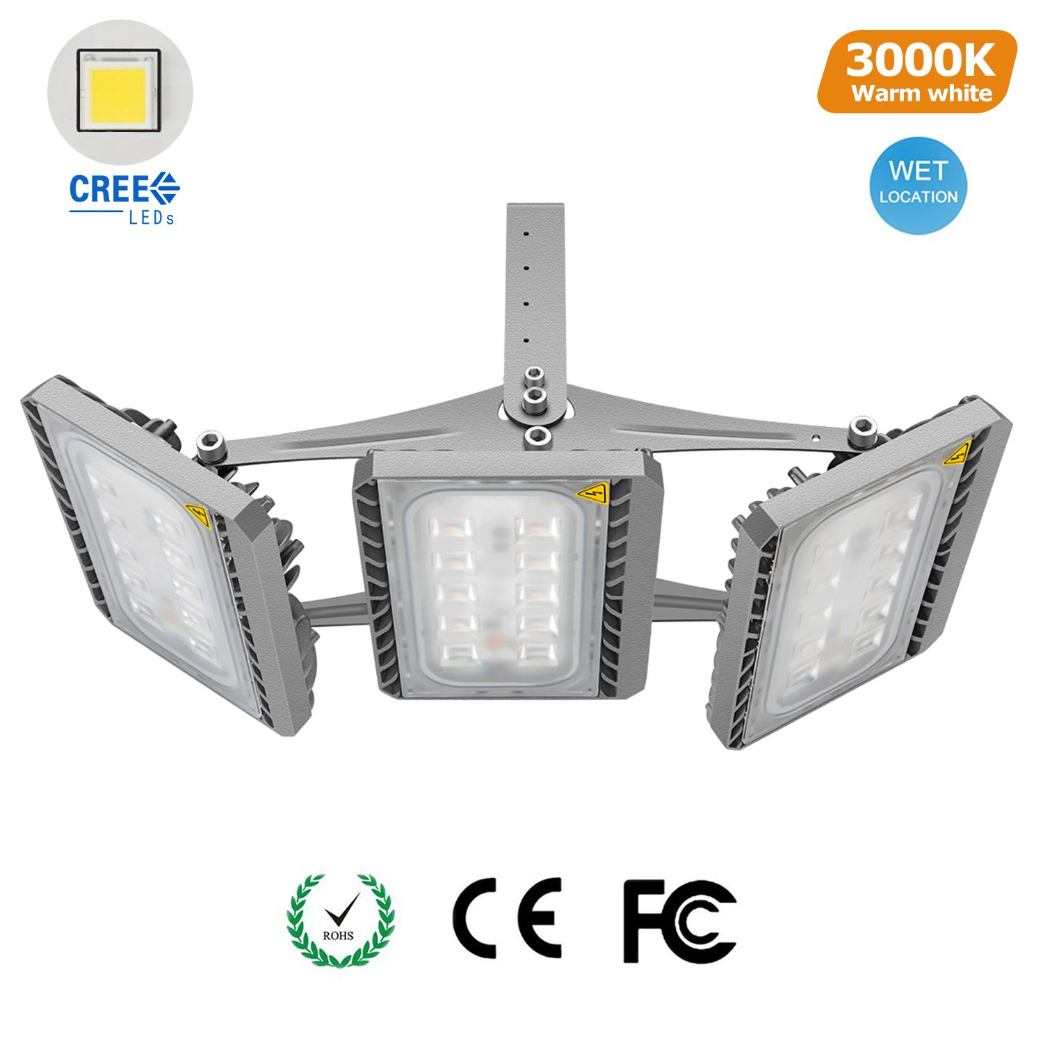 STASUN LED Flood Light, 150W Super Bright Security Lights Outdoor with Wide Lighting Area, CREE LED Source, 13500lm, 3000K, Adjustable 3-Head, Waterproof Spotlight by STASUN