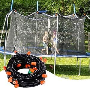 CIPAZEE Trampoline Sprinkler for Kids - 49.2FT Outdoor Water Toys for Kids Backyard Fun Water Park Kids Sprinklers for Yard Outside Summer Toys