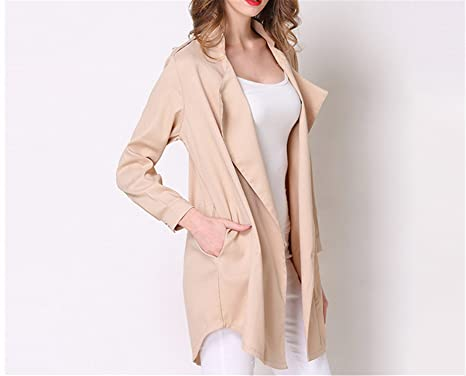 716ccb7318f52 Baqijian Spring Vintage Solid Mandarin Collar Long Sleeve Trench Coat Women  Sexy Plus Size Open Stitch