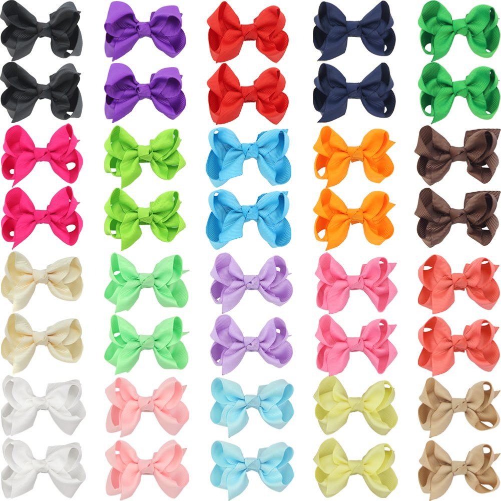 QtGirl 40pcs 2.5'' Pigtail Mini Hair Bow Alligator Clips with Hairbows Holder Hair Clips Hanger for Babies Girls Kids Toddlers in Pair