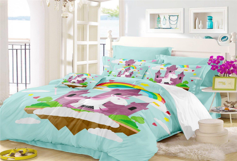 Magical Rainbow Unicorn Duvet Cover Set-1 Twin Size Duvet Cover+2 Pillowcase-Best Unicorn Gifts for Girls