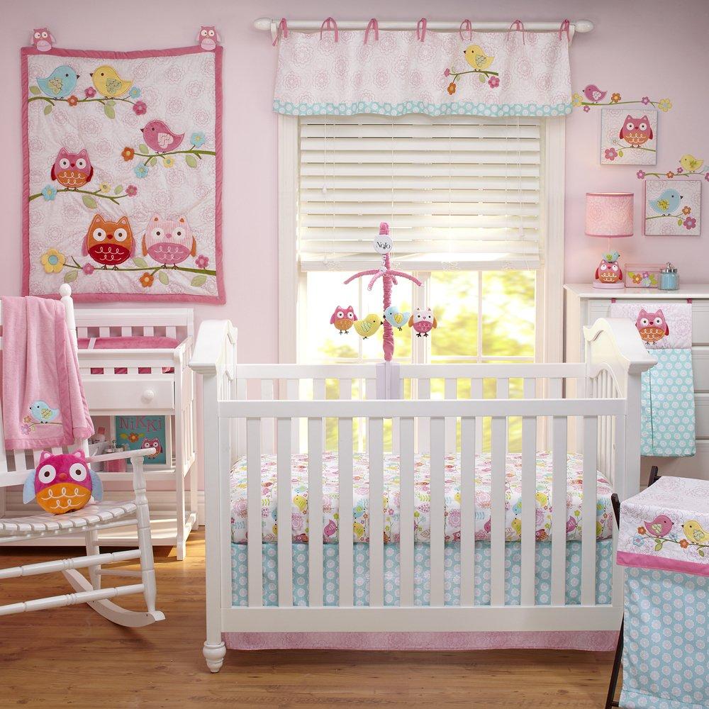 Owl baby bedding - Amazon Com Nojo Love Birds 4 Piece Comforter Set With Diaper Stacker Cribs Owl Comforter Set Baby