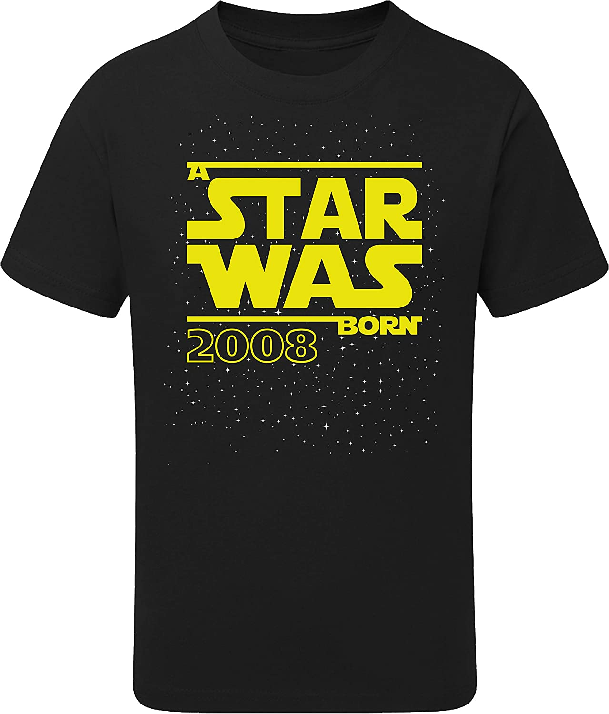 Camiseta: Star Was Born 12 años - Año 2008 - Regalo de cumpleaños para niños - T-Shirt Divertida - Fun - Humor - Doce - Chico - Niño - Niña - Parodia - Birthday - Galaxia-s: Amazon.es: Ropa y accesorios