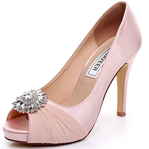 9db487afda9 LUXVEER Pink Wedding Shoes Combining Satin Lace and Rhinestone Brooch High  Heel 4.5inch-Peep