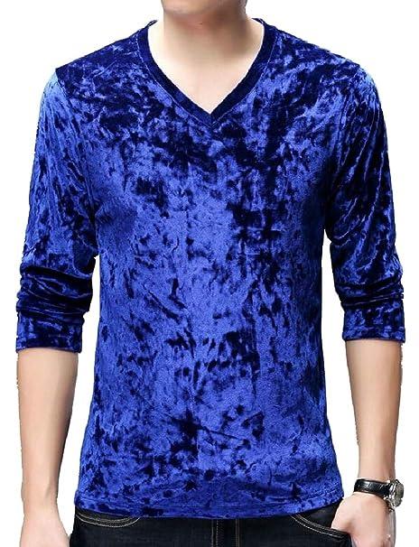 484a20e12065 ZXFHZS Mens Long Sleeve V Neck Velvet Autumn Slim Fit T Shirt Blue XS