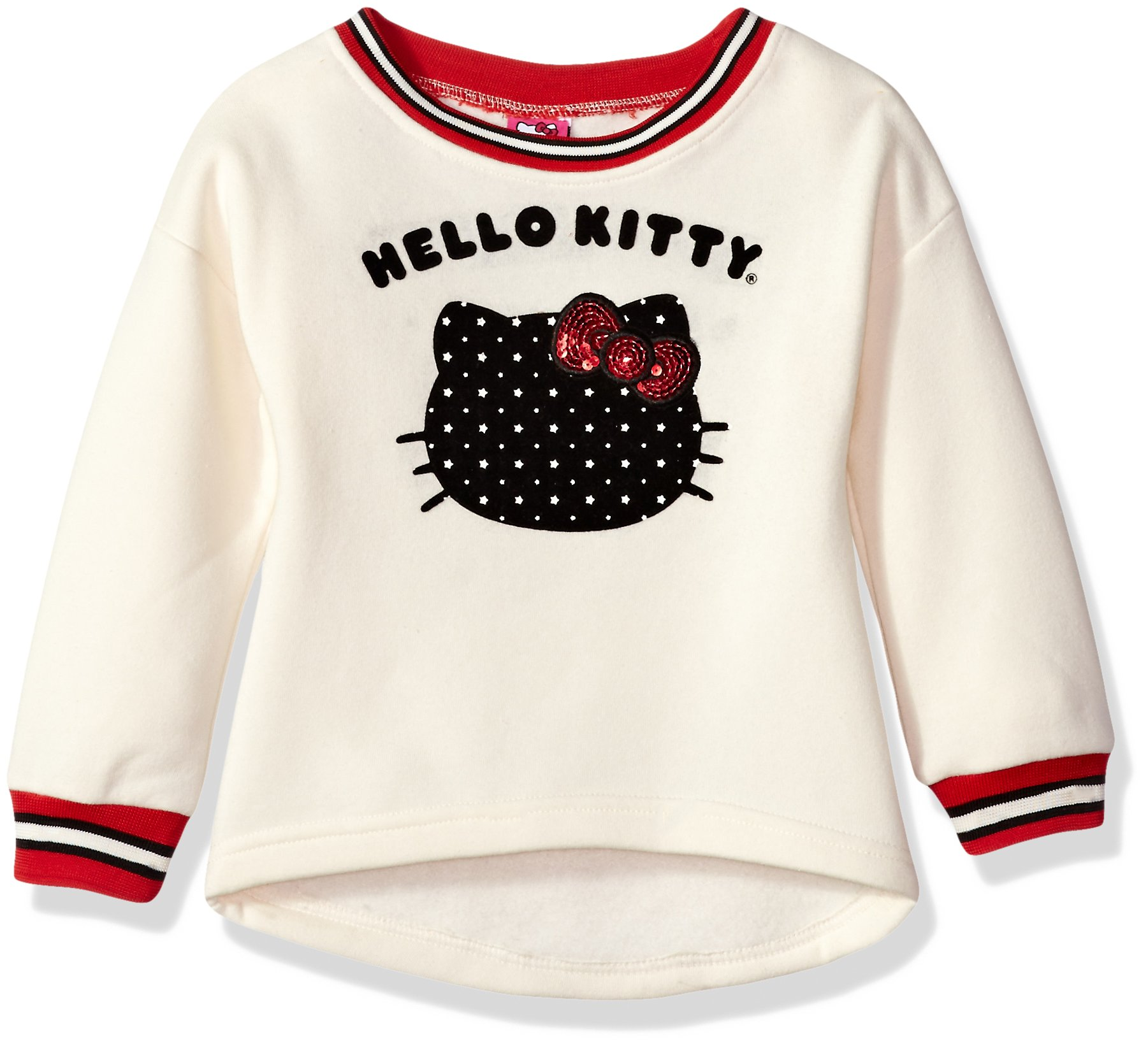 Hello Kitty Big Girls' Sweatshirt with Sugar Glitter Flocking and Fashion Rib, Cream, 7 by Hello Kitty (Image #1)