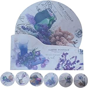 """NewFerU Cork Absorbent Coasters with Holder Decorative Round Heat Resistant Pad Mats Spoon Rest Trivet Set Table Runner Kit Large for 6 Drinks Hot Pans,Pots,Stovetop,Countertops (5.9"""" NO.7-Lavender 2)"""