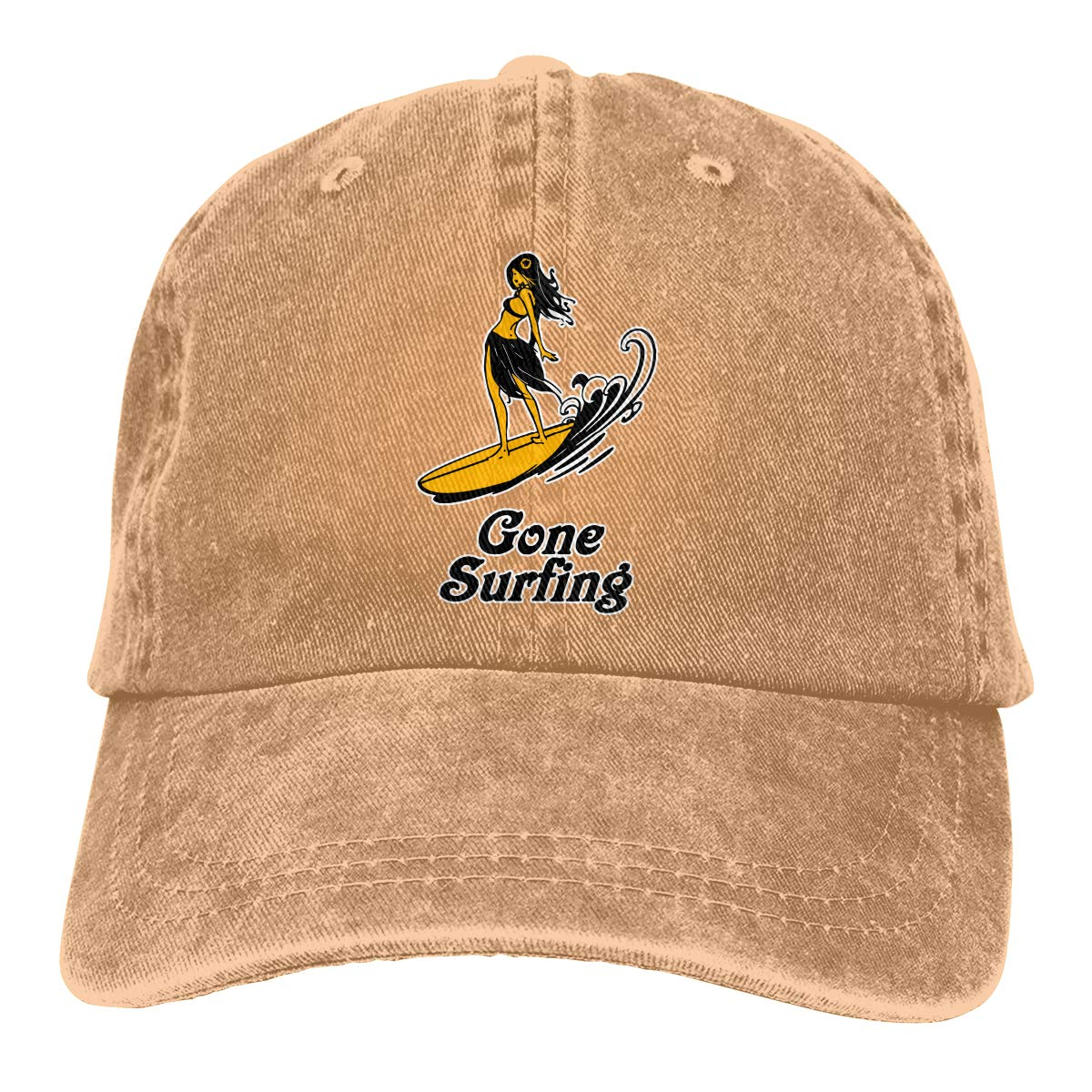 Unisex Gone Surfing Hawaii Surf Vintage Washed Dad Hat Cute Adjustable Baseball Cap