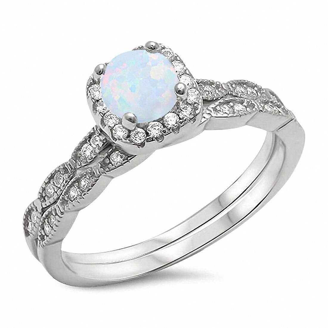 Blue Apple Co. Two Piece Halo Art Deco Wedding Engagement Ring Band Lab White Opal 925 Sterling Silver,Size-6