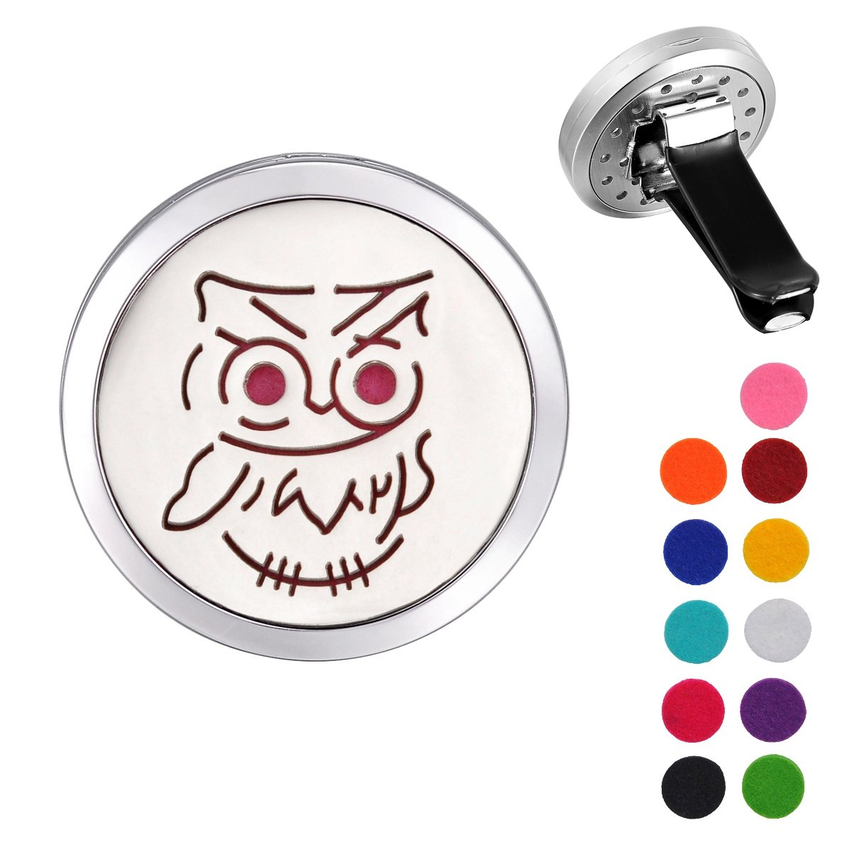 Valyria Stainless Steel Owl Car Air Freshener Aromatherapy Essential Oil Diffuser Locket with Vent Clip
