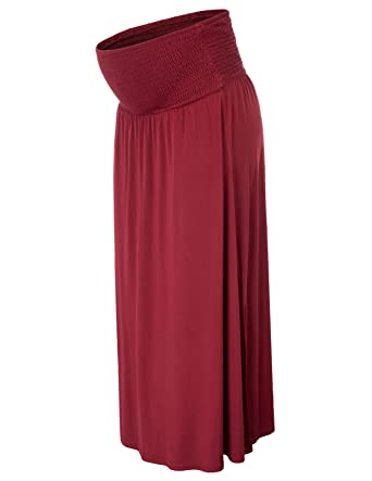 9bc35b1b2bf Women Maternity Comfy Cotton Side Split Two-Way Strapless Dress Maxi Skirt  S Wine