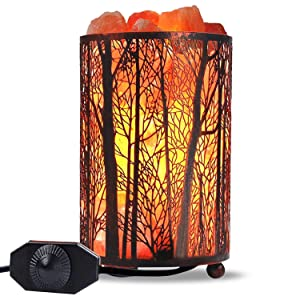 "Himalayan Salt Lamp, Salt Rock Lamp Natural Night Light in Forest Design Metal Basket with Dimmer Switch (4.1 x 6.5"" 4.4-5lbs), 25Watt Bulbs & ETL Cord 1 Pack"