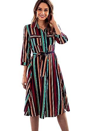 f6fa07fa647 ECOLIVZIT Womens Button Up Shirt Dress 3 4 Sleeve Striped Summer Work  Casual Loose Midi