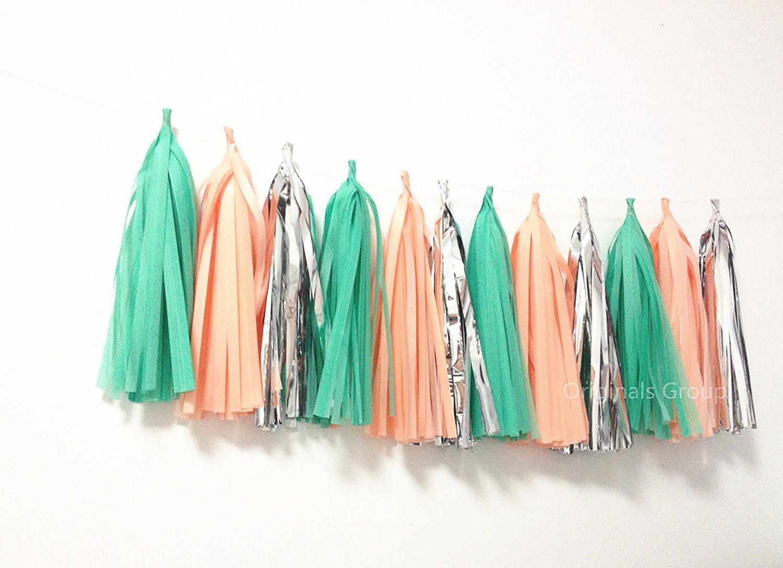 15 x verde albicocca argento carta velina pom pom nappe per festa di nozze d' oro festoni Originals Group