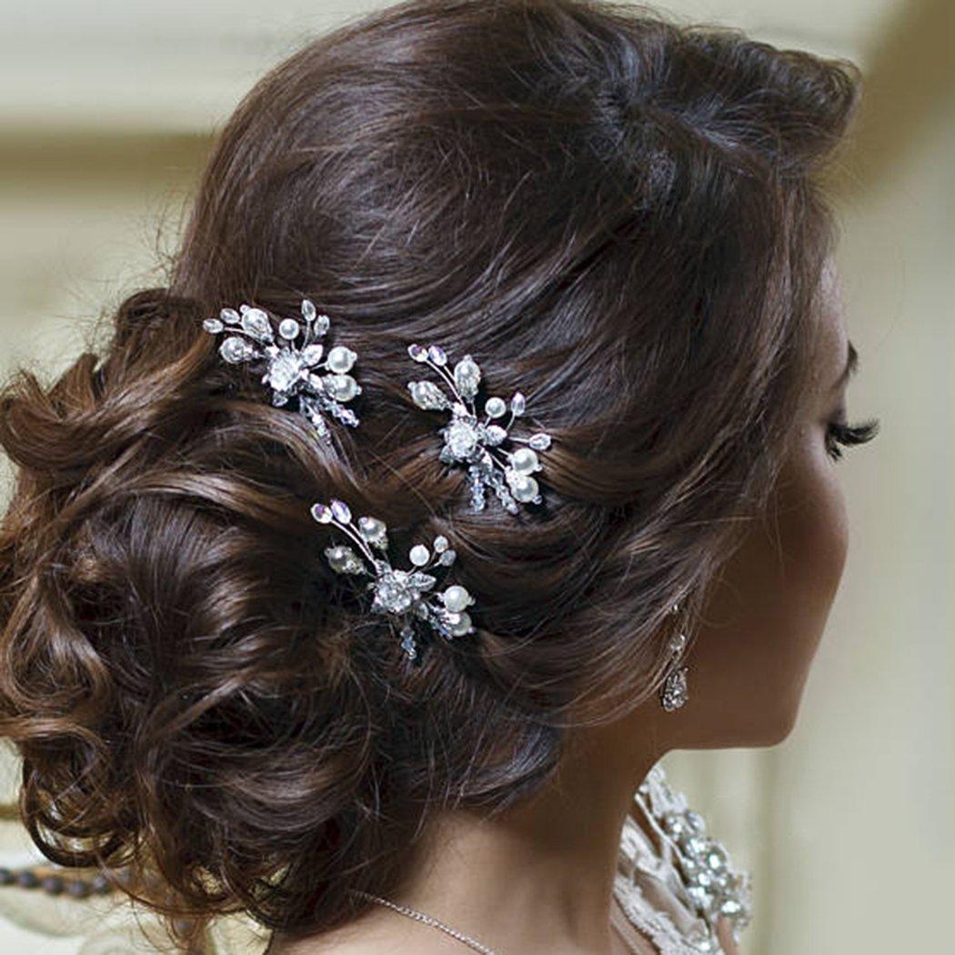 d3e75a63cd76e Barogirl Wedding Hair Pins Gold Floral Hair Clip Pin Wedding Hair Piece for  Brides and Bridesmaids Set of 3,...