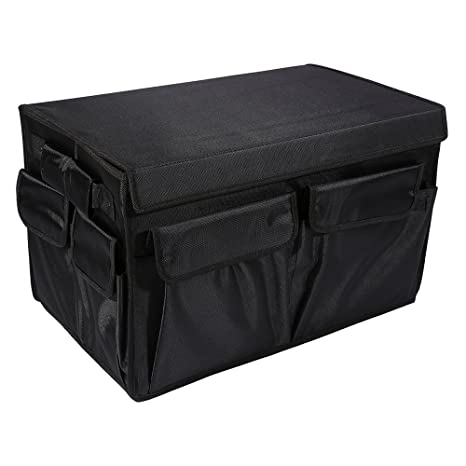 Multi Compartments Trunk Organizer, Collapsible Cargo Container With  Cover,Waterproof Travel Storage Box Bin