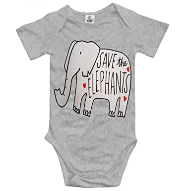 795a54031 Amazon.com  Merle Swinburne Funny Infant Baby Bodysuit Save The Elephants  Onesies Short Sleeve for Baby Boys Girls 0-24 Months  Clothing