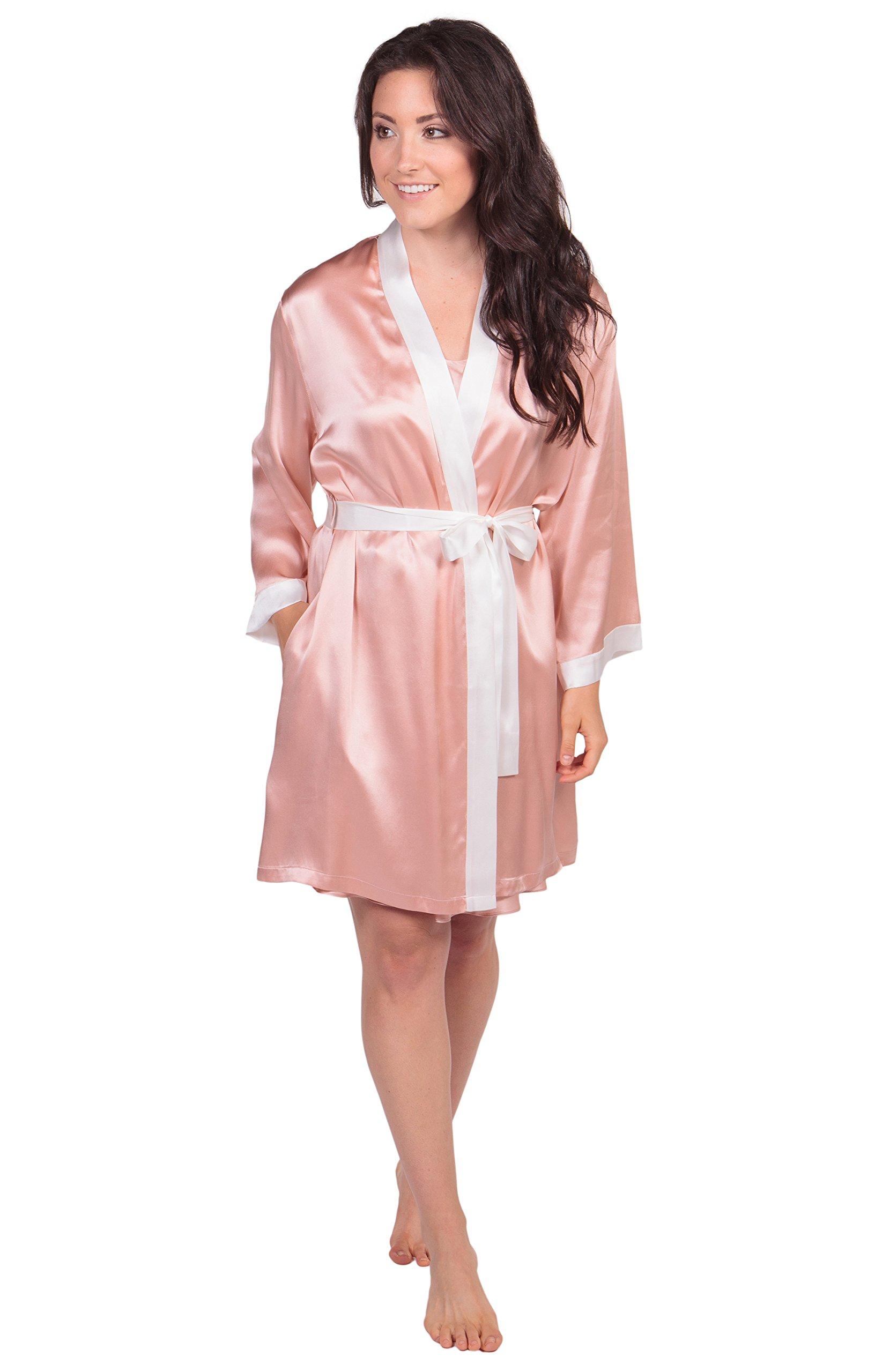 Women's Silk Chemise & Robe Set - Classic Gift by TexereSilk (Silk Silhouette, Evening Sand, Medium) Best Nightwear for Her WS0606-ESD-M