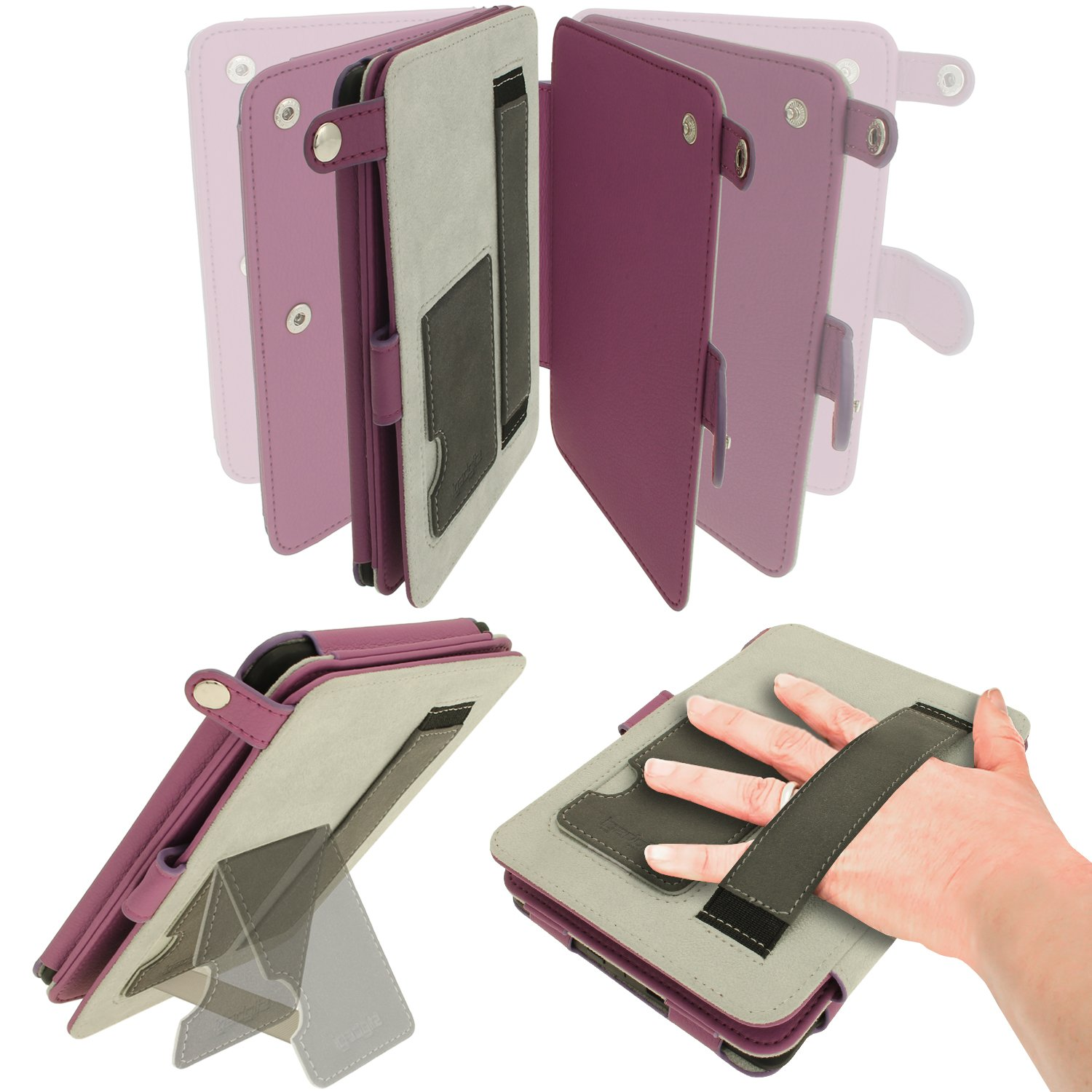 iGadgitz Purple PU 'Bi-View' Leather Case Cover for Amazon Kindle Paperwhite 2015 2014 2013 2012 With Sleep/Wake Function & Integrated Hand Strap by igadgitz (Image #5)