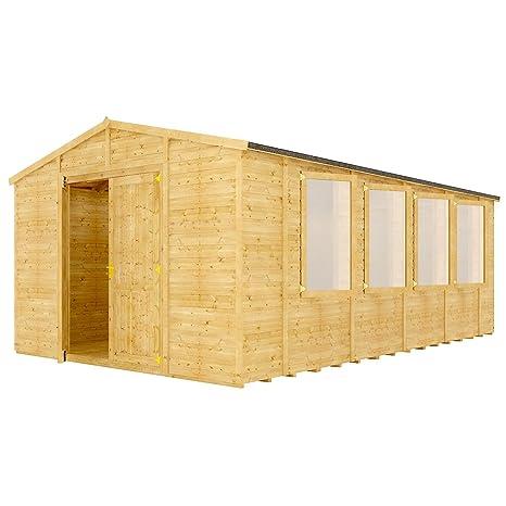 12 FT Grandmaster Apex Doble Puerta de madera jardín cobertizo – con ventana