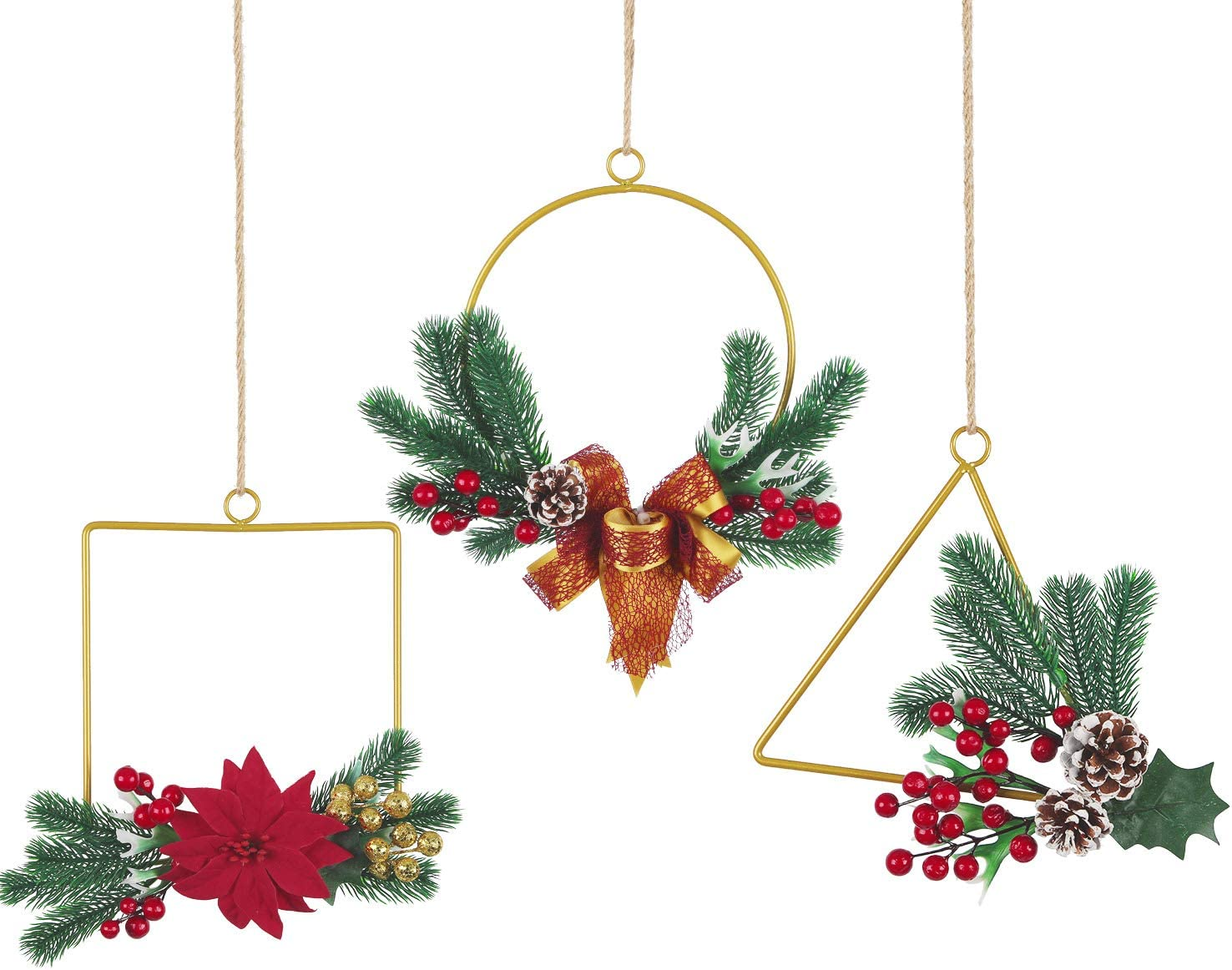 Pauwer Christmas Metal Hoop Wreath Set of 3 Artificial Floral Hoop Wreath with Red Berries Poinsettia Flowers Pine Cones Wall Hoop Garland for Christmas Home Wall Window Decoration
