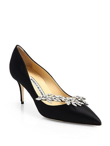 240f0ee85e6 Manolo Blahnik Nadira Black Satin Crystal Pumps 70 Pumps Shoe (38)