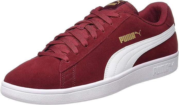 Puma Smash V2 Sneakers Unisex Damen Herren Weinrot/Weiß