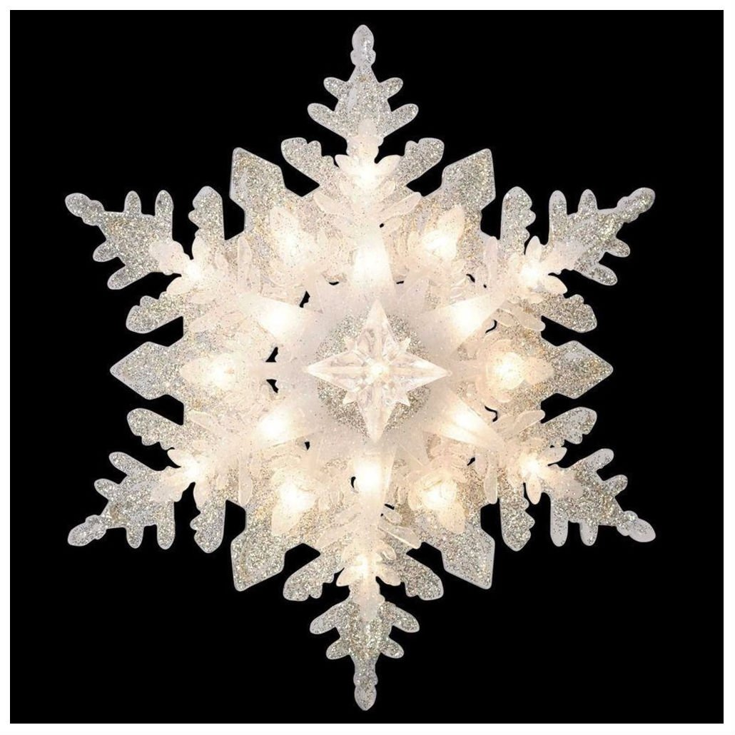 Glittered Snowflake Christmas Tree Topper Holiday Classics Silver Holiday Decor Gift