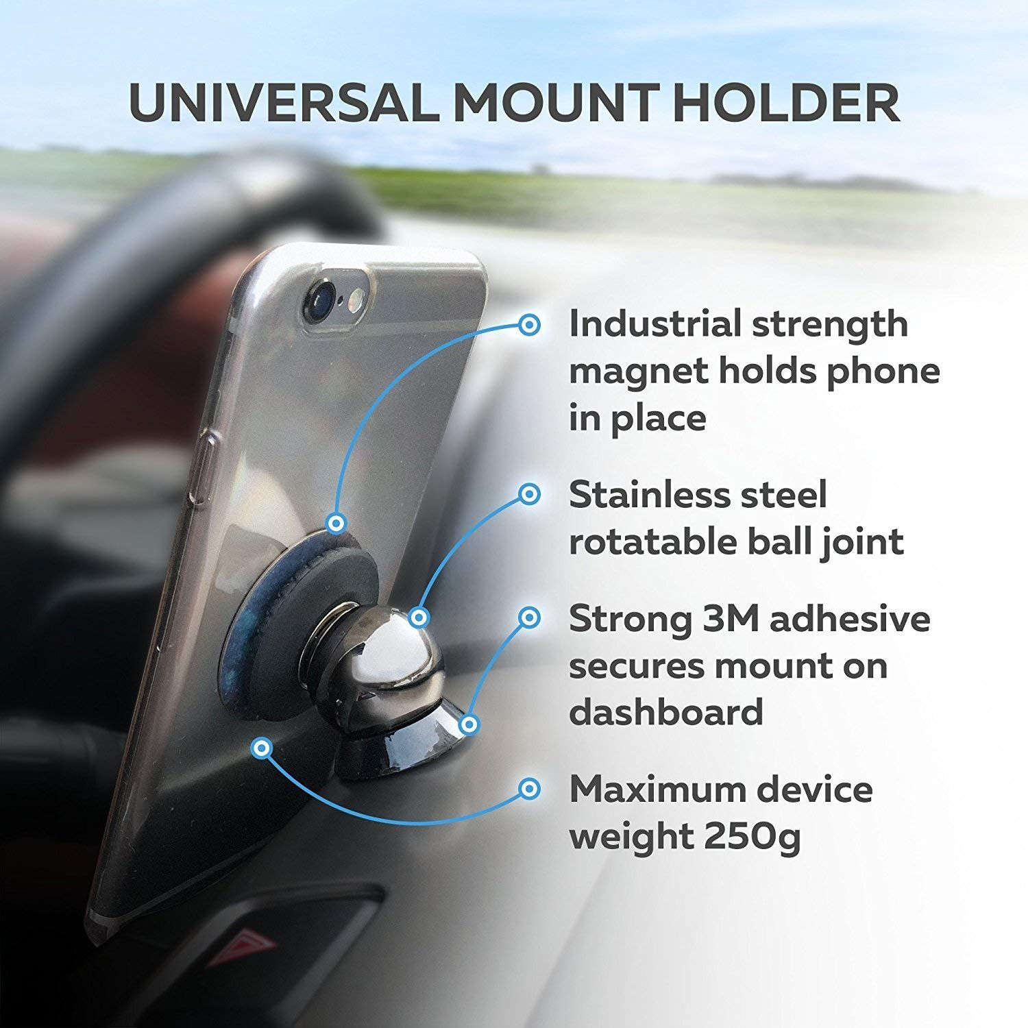 100 to Safeness /& Comfort for Any Phone GPS or Light Tablet Stylish Black Chrome One-Hand /& One-Sec Dash Holder Universal Magnetic Car Mount