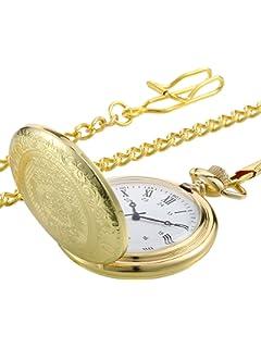 Reloj de Bolsillo Vintage Reloj de Hombres de Acero Dorado con Cadena para Regalo de Día