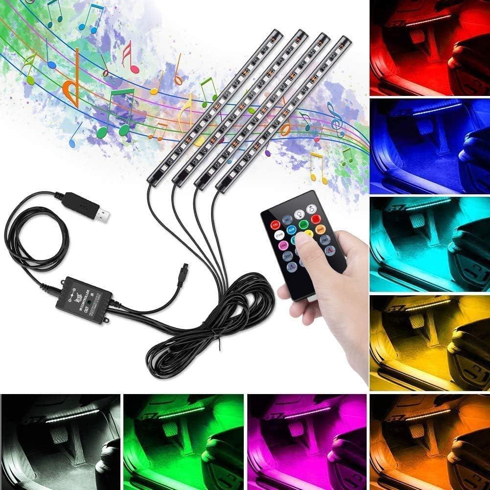 Akozon Auto Innenraum RGB LED-Streifen Lichter Fu/ßatmosph/äre Licht 4x 12SMD mit Fernbedienung Gr/ün