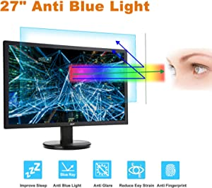 "27 Inch Monitor Screen Protector -Blue Light Filter, FORITO Eye Protection Blue Light Blocking Computer Screen Protector for 27"" Widescreen Desktop Monitor with 16:9 Aspect Ratio"