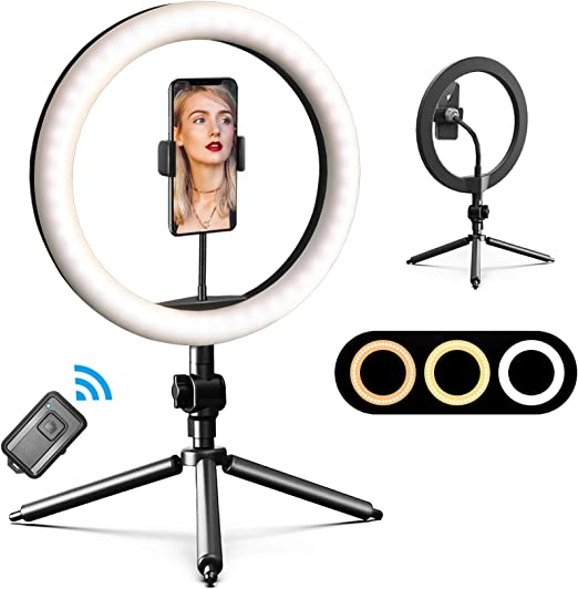LED Ring Light 10 with Tripod Stand /& Phone Holder for YouTube Video Dimmable Desk Makeup Ring Light /& Desktop Camera Led Ring Light for Selfie Photography 3 Light Modes Level Aluminum ShellGray