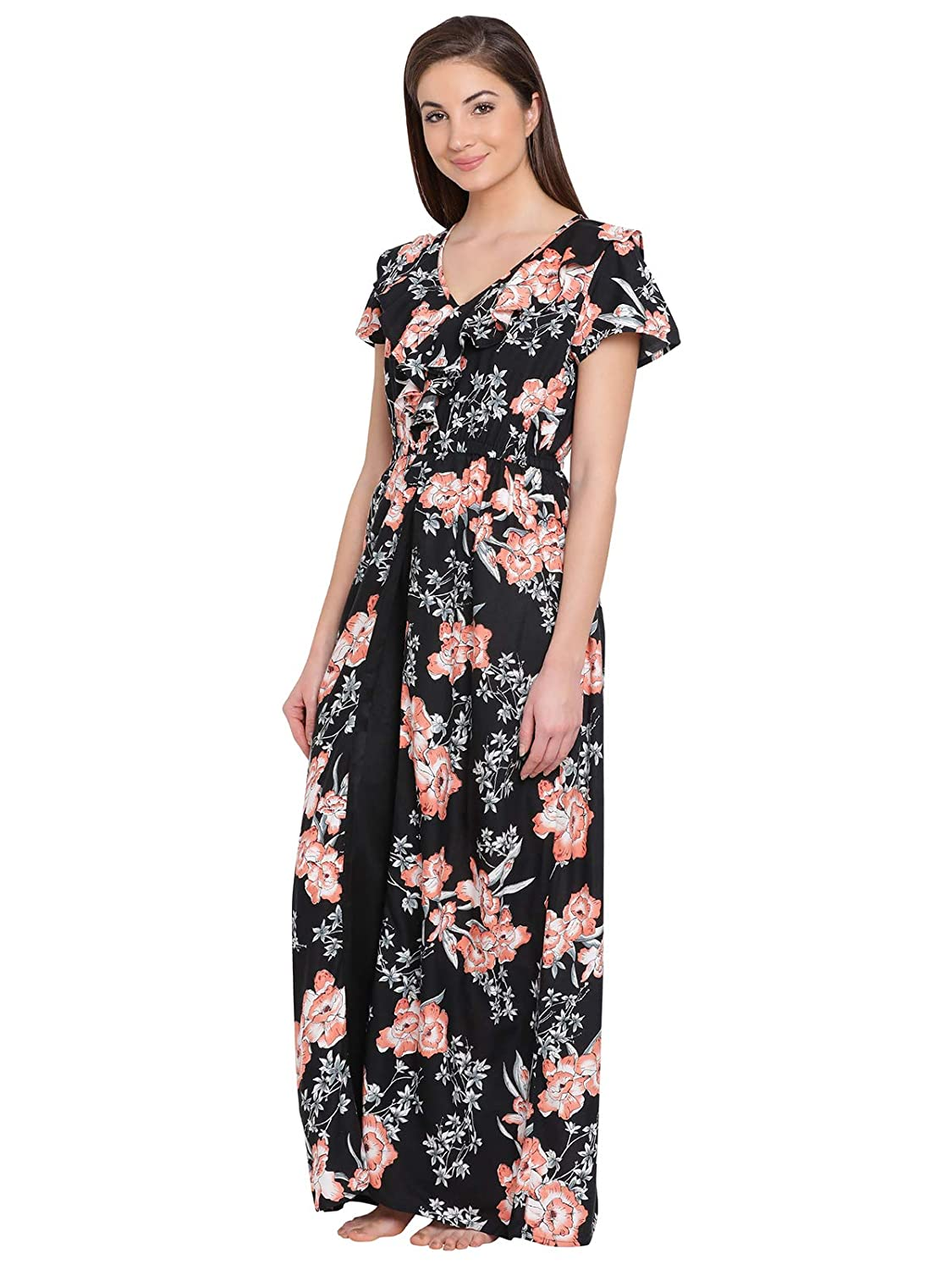 6f6737b2c8 Clovia Women s Cotton Rich Floral Print Long Nighty  Amazon.in  Clothing    Accessories