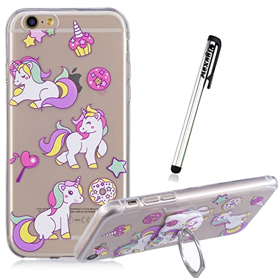 new products df9ec 7ce5a iPod Touch 6 Case, Qiyuxow iPod Touch 5 CLEAR Case Soft Anti-Scratch  Embossed Bright Art Print TPU Bumper Case with Ring Holder Kickstand for  iPod ...