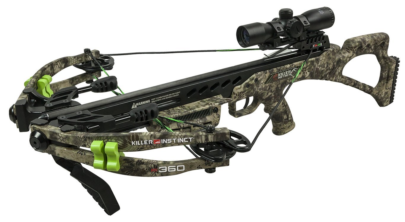 Killer Instinct KI 360 - High Performance Crossbow Package - Includes Quiver, Bolts, KI Lumix Illuminated Scope, and Rope Cocker - 3.5 lb RTT Trigger